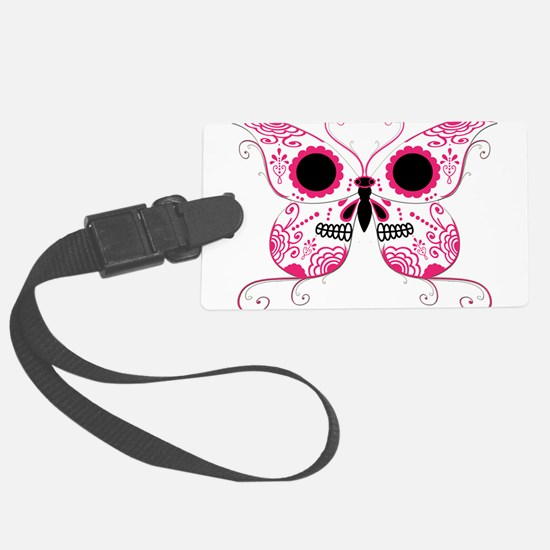 Sugar Skull Pink Butterfly.png Luggage Tag