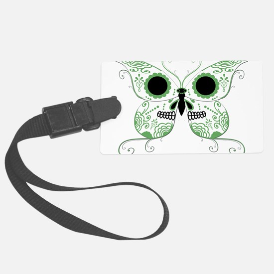 Sugar Skull Green Butterfly.png Luggage Tag
