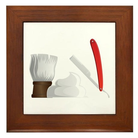 Shaving Brush Shave Cream Razor Framed Tile