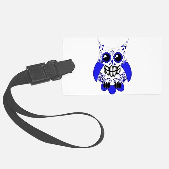 Sugar Skull White Blue Owl.png Luggage Tag