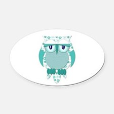 Winter Snow Owl.png Oval Car Magnet