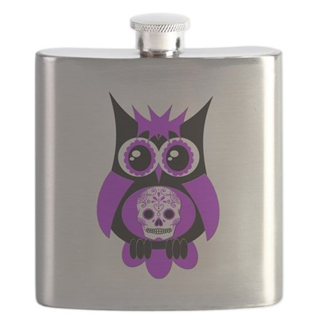 Purple Sugar Skull Owl.png Flask