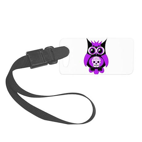 Purple Sugar Skull Owl.png Small Luggage Tag