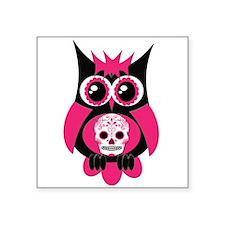 "Pink Sugar Skull Owl.png Square Sticker 3"" x 3"""