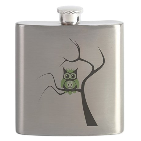 Green Sugar Skull Owl in Tree.png Flask