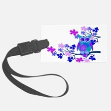 Aqua Hibiscus Owl Tree.png Luggage Tag