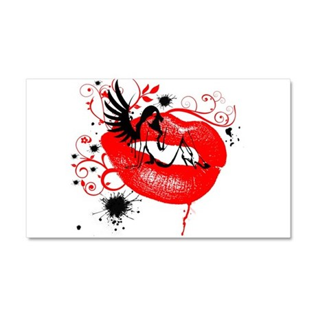 Winged Woman Sitting on Lips Car Magnet 20 x 12