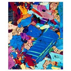 Polarised LM of a thin section of gabbro rock Framed Print