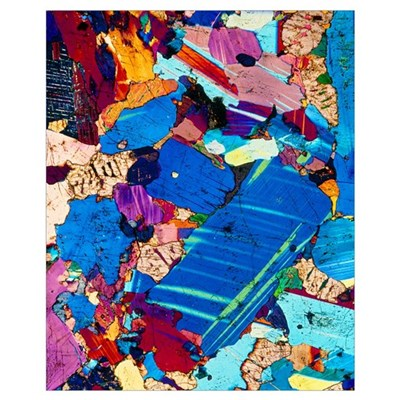 Polarised LM of a thin section of gabbro rock Poster