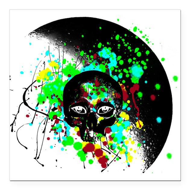alien skull graffiti paint splatter square car mag by needfulwants. Black Bedroom Furniture Sets. Home Design Ideas