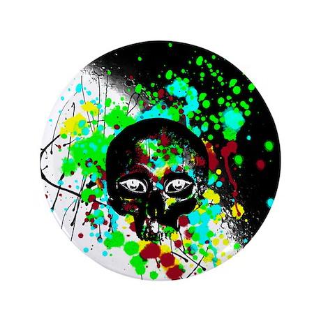 "Alien Skull Graffiti Paint Splatter 3.5"" Button"