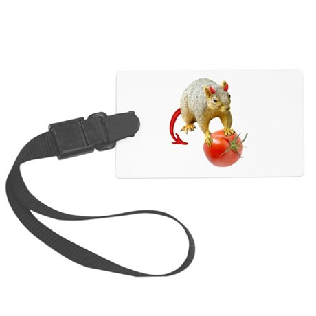 Devil Squirrel Stealing Tomato Large Luggage Tag