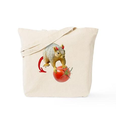 Devil Squirrel Stealing Tomato Tote Bag