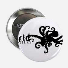 "Evolution of Man Joke - Octopus 2.25"" Button (10 p"