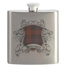 Brown Tartan Shield Flask