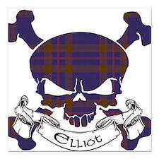 "Elliot Tartan Skull Square Car Magnet 3"" x 3"""