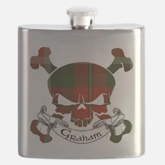 Graham Tartan Skull Flask