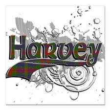 "Harvey Tartan Grunge Square Car Magnet 3"" x 3"""