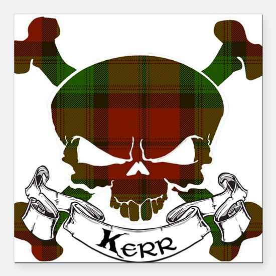 "Kidd Tartan Skull Square Car Magnet 3"" x 3"""