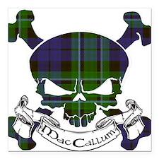"MacCallum Tartan Skull Square Car Magnet 3"" x 3"""