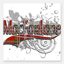 """MacFarlane Tartan Grunge Square Car Magnet 3"""" x 3"""""""