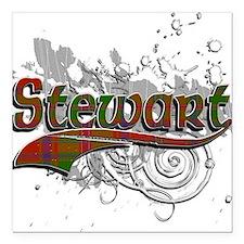 """Stewart Tartan Grunge Square Car Magnet 3"""" x 3"""""""