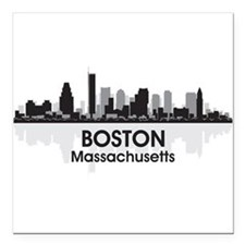 "Boston Skyline Square Car Magnet 3"" x 3"""