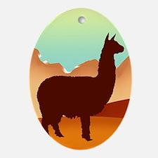 alpacas / mountains Oval Ornament