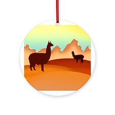 alpacas / mountains Ornament (Round)