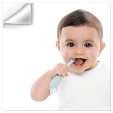Baby boy with toothbrush Wall Decal