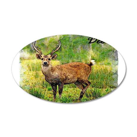 deer in a beautiful setting 35x21 Oval Wall Decal