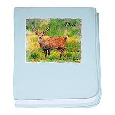 deer in a beautiful setting baby blanket