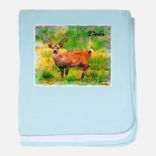 deer in a beautiful setting baby blanket