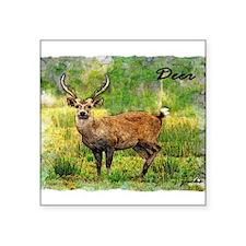 "deer in a beautiful setting Square Sticker 3"" x 3"""