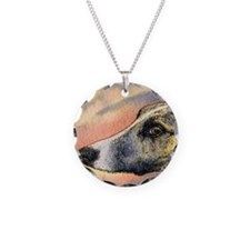 Brindle whippet greyhound dog Necklace Circle Char