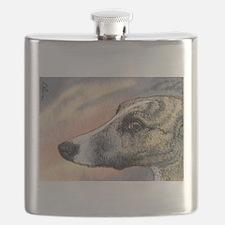 Brindle whippet greyhound dog Flask
