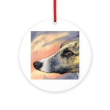 Brindle whippet greyhound dog Ornament (Round)