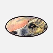 Brindle whippet greyhound dog Patches