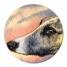 Brindle whippet greyhound dog Round Car Magnet