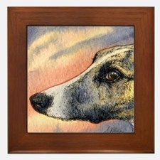 Brindle whippet greyhound dog Framed Tile