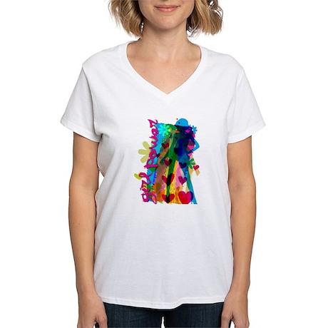 GirlPower.png Women's V-Neck T-Shirt