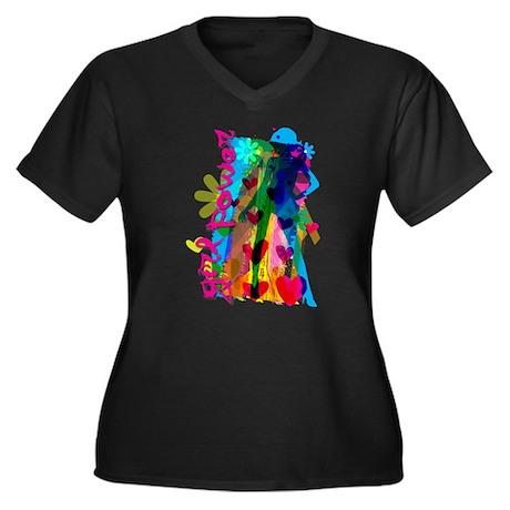 GirlPower.png Women's Plus Size V-Neck Dark T-Shir
