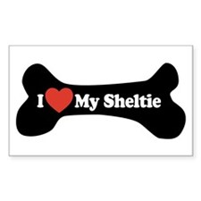 I Love My Sheltie - Dog Bone Decal