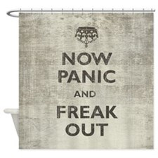 Vintage Now Panic And Freak Out Shower Curtain