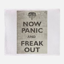 Vintage Now Panic And Freak Out Throw Blanket