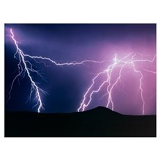 Lightning strikes at night, New Mexico Framed Print