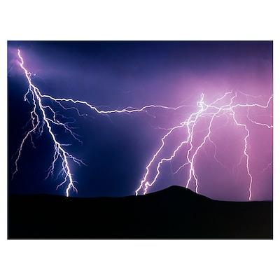Lightning strikes at night, New Mexico Poster