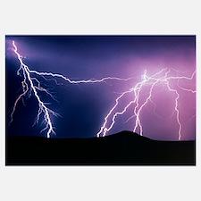 Lightning strikes at night, New Mexico