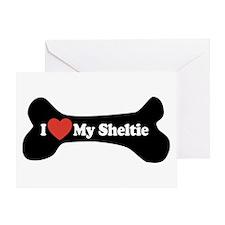 I Love My Sheltie - Dog Bone Greeting Card