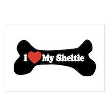 I Love My Sheltie - Dog Bone Postcards (Package of